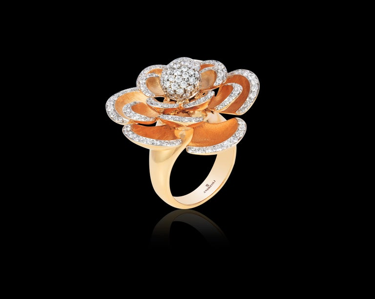 Andreoli Diamond 18 Karat Rose Gold Flower Cocktail Ring with Movable Petals For Sale 1