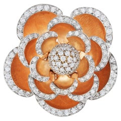 Andreoli Diamond 18 Karat Rose Gold Flower Cocktail Ring with Movable Petals