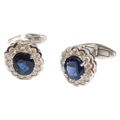 Andreoli Diamond and Blue Sapphire Cufllinks