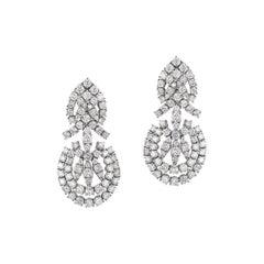 Andreoli Diamond Chandelier Earrings 18 Karat White Gold