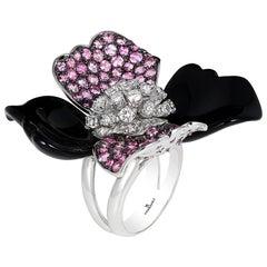 Andreoli Diamond Pink Sapphire Onyx Flower Cocktail Ring 18 Karat White Gold