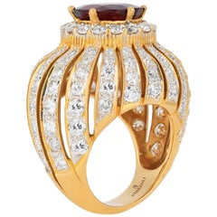 Andreoli Diamond Red Spinel Cocktail Ring 18 Karat Yellow Gold