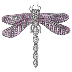 Andreoli Dragonfly Pink Sapphire Diamond Black Rhodium Brooch Pin 18 Karat White