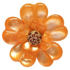 Andreoli Dyed Orange Mother of Pearl Orange Sapphire Flower Cocktail Ring