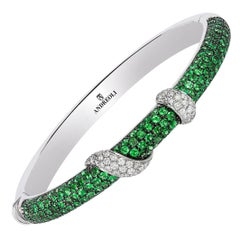 Andreoli Electric Green Tsavorite Garnet Diamond Bangle Bracelet 18 Karat White