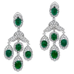 Andreoli Emerald Cabochon Diamond Chandelier Earrings 18 Karat White Gold