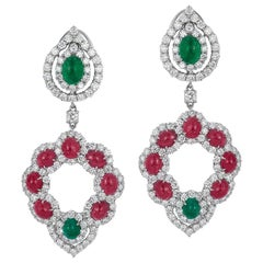Andreoli Emerald Ruby Cabochon Diamond Chandelier Earrings 18 Karat White Gold