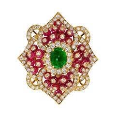 Andreoli Emerald Ruby Diamond Cabochon Bead Art Deco Style 18 Karat Cocktail