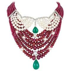 Andreoli Emerald Zambian Drop Cabochon Ruby Burma Akoya Pearl Necklace Diamond