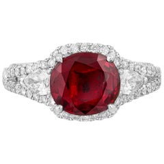 Andreoli GIA Certified 1.98 Carat Pigeon Blood Ruby Thailand Diamond Ring