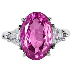 Andreoli GIA Certified 9.39 Carat Pink Sapphire Diamond Platinum Ring
