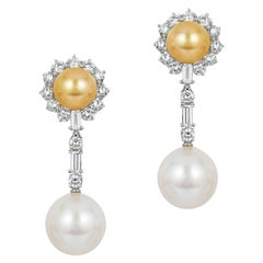Andreoli Golden and White South Sea Pearl Drop and Stud Diamond Earrings 18kt