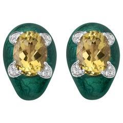 Andreoli Green Enamel Lemon Citrine Diamond Clip-On Earrings 18 Karat Silver