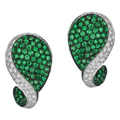 Andreoli Green Tsavorite Garnet Diamond Clip-On Earrings 18 Karat White Gold