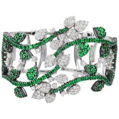 Andreoli Green Tsavorite Garnet Diamond Flower Vine Cuff Bracelet 18 Karat White