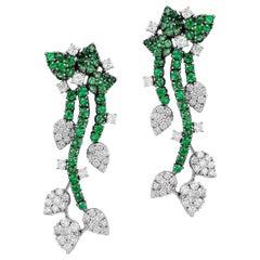 Andreoli Green Tsavorite Garnet Diamond Flower Vine Dangle Earrings 18 Karat