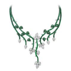 Andreoli Green Tsavorite Garnet Diamond Flower Vine Necklace 18 Karat White Gold