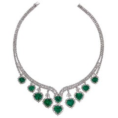 Andreoli Heart Shape Colombian Emerald Diamond Necklace CDC Certified 18Kt Gold
