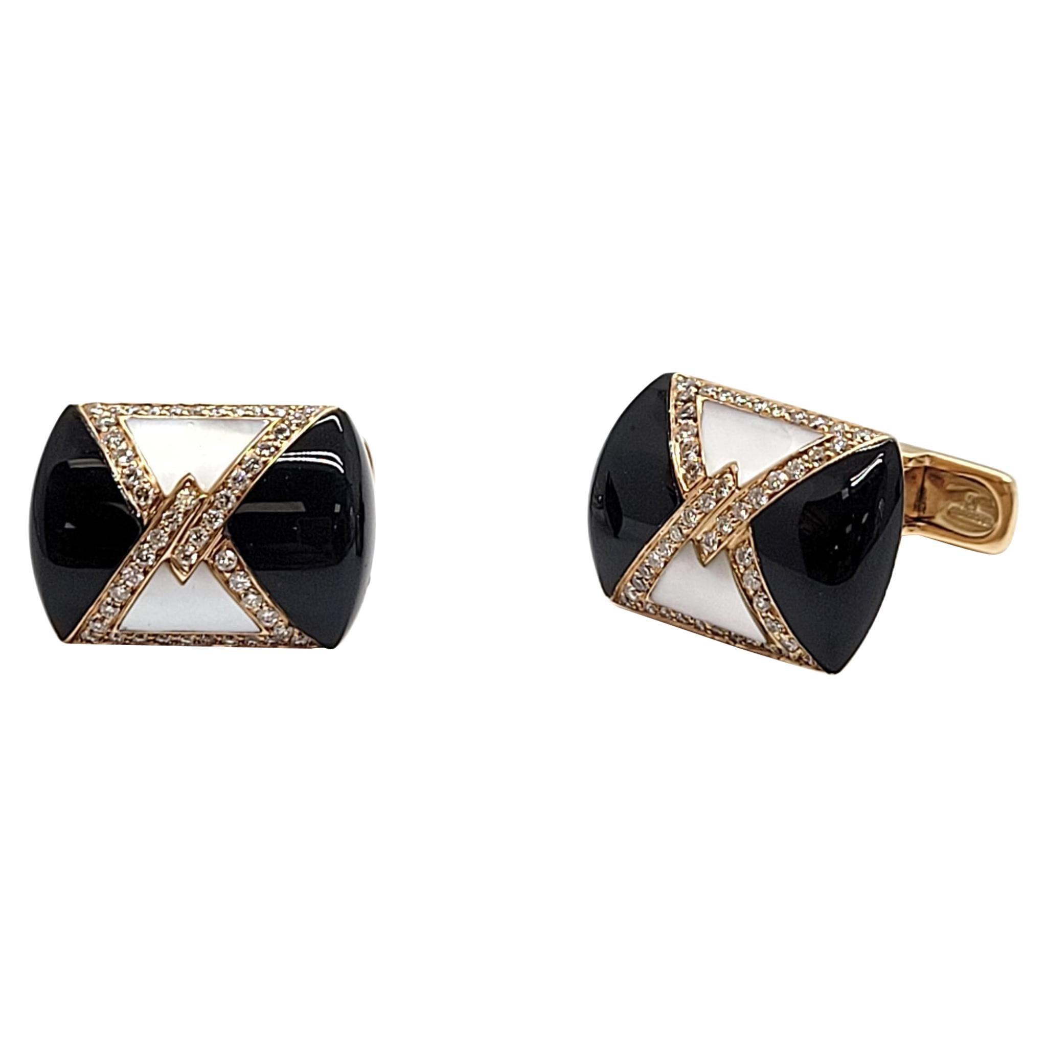 Andreoli Mother of Pearl and Onyx Cufflinks 18k Rose Gold