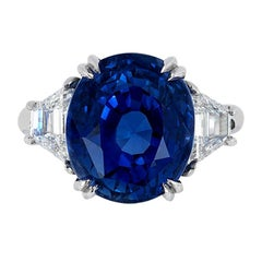 Andreoli No Heat Natural Blue Sapphire Ceylon GIA Certified Platinum Ring