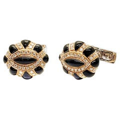 Andreoli Onyx Diamond 18 Karat Rose Gold Cufflinks