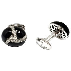 Andreoli Onyx Diamond Men's Cufflinks 18 Karat White Gold