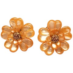 Andreoli Orange Dyed Mother of Pearl Orange Sapphire Cocktail Earrings Clip-On