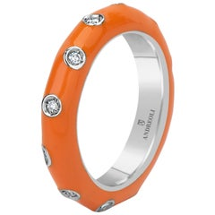 Andreoli Orange Enamel Diamond Band Ring 18 Karat White Gold