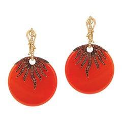 Andreoli Orange Sapphire Carnelian Diamond Dangle Earrings 18 Karat Rose Gold