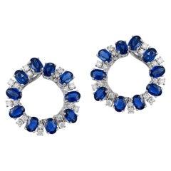 Andreoli Oval Blue Sapphire Diamond Hoop Earrings 18 Karat White Gold