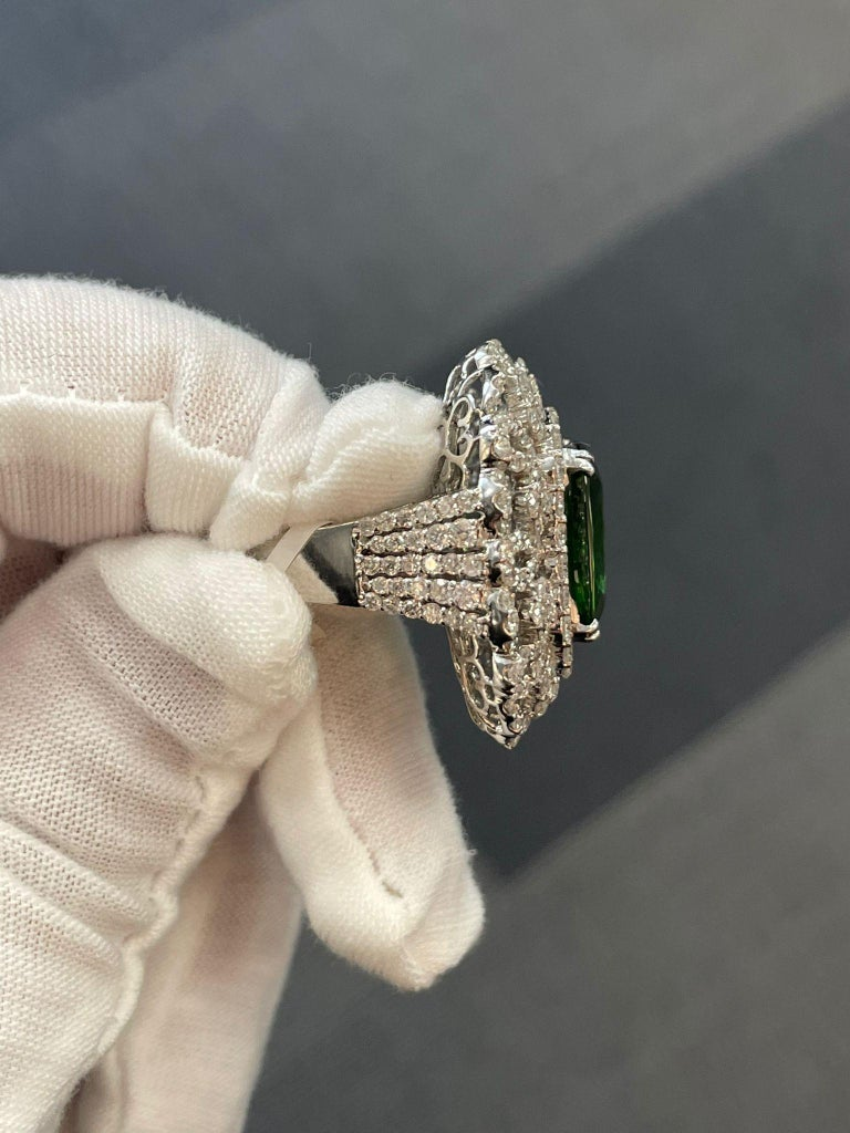 Cushion Cut Andreoli Peridot and Diamond Cocktail Ring For Sale