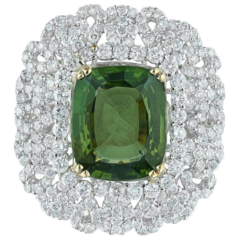 Andreoli Peridot and Diamond Cocktail Ring For Sale
