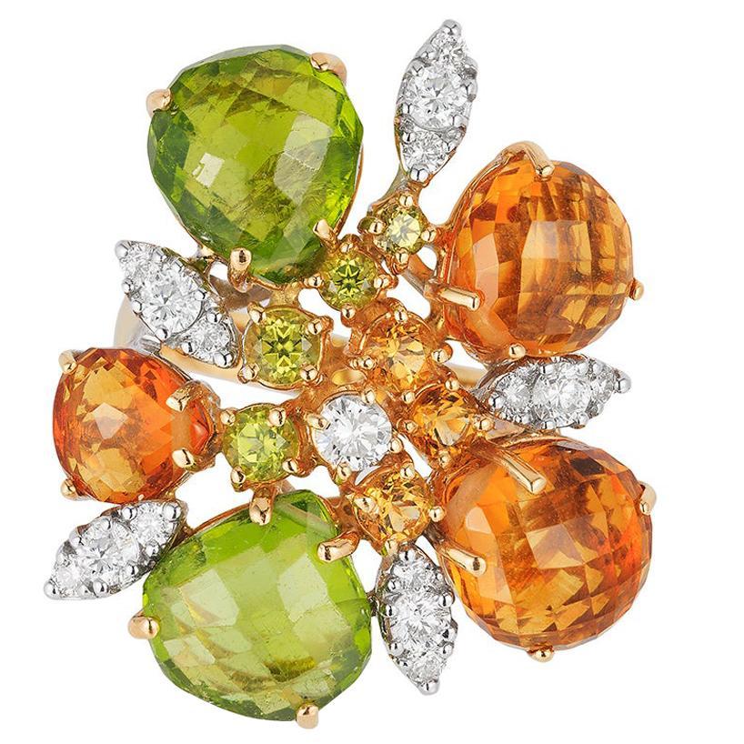 Andreoli Peridot Citrine Diamond 18 Karat Gold Cocktail Ring