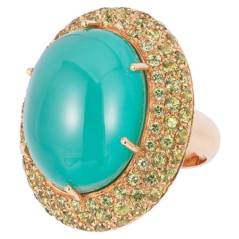 Andreoli Peridot Crystal Dome 18 Karat Rose Gold Cocktail Ring
