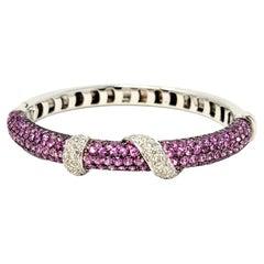 Andreoli Pink Sapphire and Diamond Wrap Hinged Bangle Bracelet Cuff