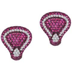 Andreoli Pink Sapphire Diamond on Ear Clip Earrings 18 Karat Gold Blackened