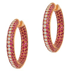 Andreoli Pink Sapphire Diamond Pave 18 Karat Rose Gold Hoop Earrings