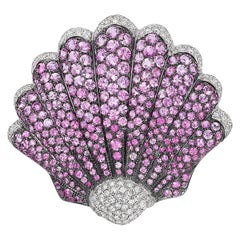 Andreoli Pink Sapphire Diamond Seashell Brooch Pin 18 Karat White Gold
