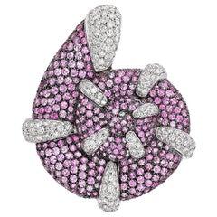 Andreoli Pink Sapphire Diamond Seashell Seahorse Brooch Pin 18 Karat White Gold