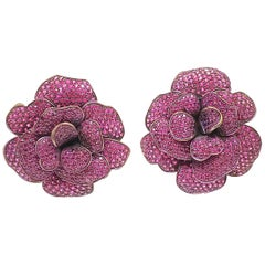 Andreoli Pink Sapphire Titanium Flower Clip-On Earrings