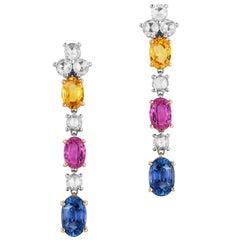 Andreoli Pink Yellow Blue Sapphire Rose Cut Diamond Dangle Earrings 18 Karat