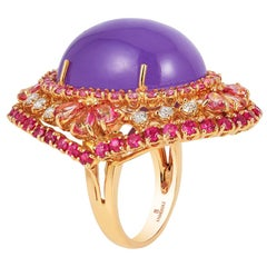 Andreoli Purple Jade Tourmaline Pink Sapphire Cocktail Dome Ring 18 Karat Rose