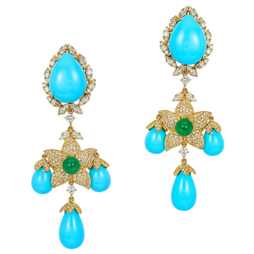 Andreoli Italian Turquoise Diamond Emerald Earrings 18 Karat Yellow Gold