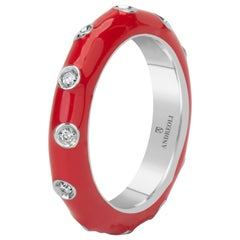 Andreoli Red Enamel Diamond Band Ring 18 Karat White Gold