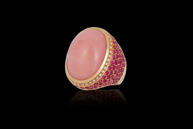 Round Cut Andreoli Rose Opal Pink Sapphire Diamond Dome Cocktail Ring 18 Karat Rose Gold For Sale
