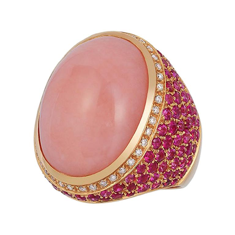 Andreoli Rose Opal Pink Sapphire Diamond Dome Cocktail Ring 18 Karat Rose Gold For Sale
