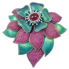 Andreoli Ruby Cabochon Pink Sapphire Diamond Titanium Flower Brooch Pin