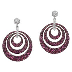 Andreoli Ruby Pave Diamond 18 Karat White Gold Blackened Rhodium Hoop Earrings