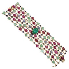 Andreoli Sapphire Emerald Ruby Leaves Colombian Cabochon Diamond 18K Bracelet