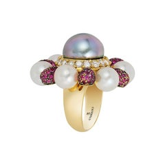 Andreoli Tahitian Pearl Diamond Pink Sapphire Flower Movable Petal Ring Cocktail